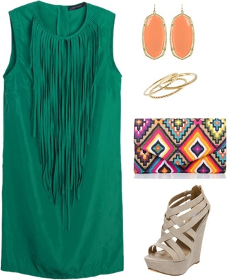 dress green tassel aztec indian earrings bag wedges fashionista turquoise perfect