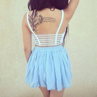 skirt light blue skater skirt summer hipster pretty crop tops back top open