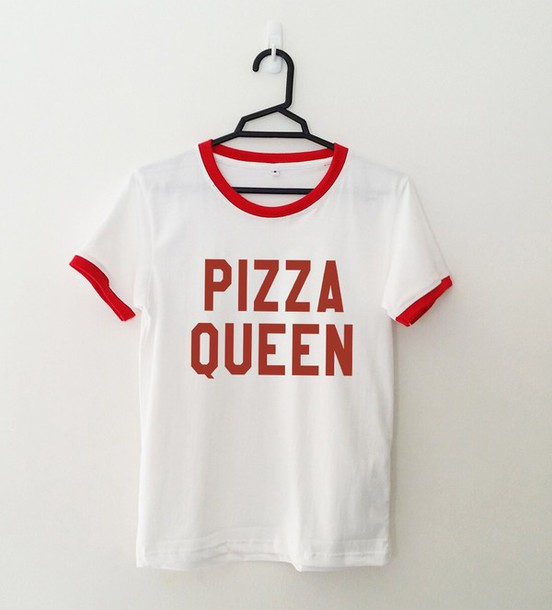 c0d1cfec t-shirt, pizza queen t-shirt, fashion, teengers, red and white ...