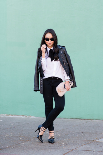 the fancy pants report blogger jacket jewels sunglasses jeans perfecto faux fur pouch black and white furry pouch