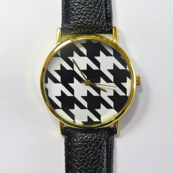 jewels watch watch houndstooth black and white handmade etsy style