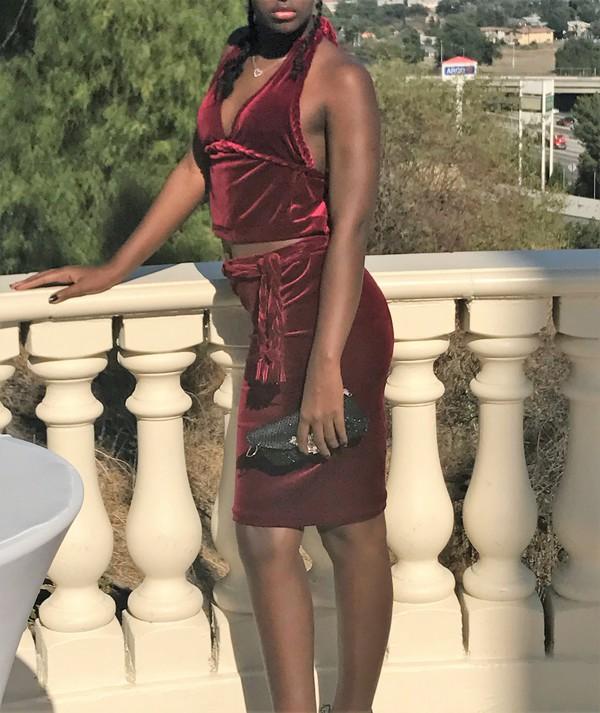 dress burgundy velvet two-piece velvet velvet dress velvet skirt halter neck dress burgundy dress