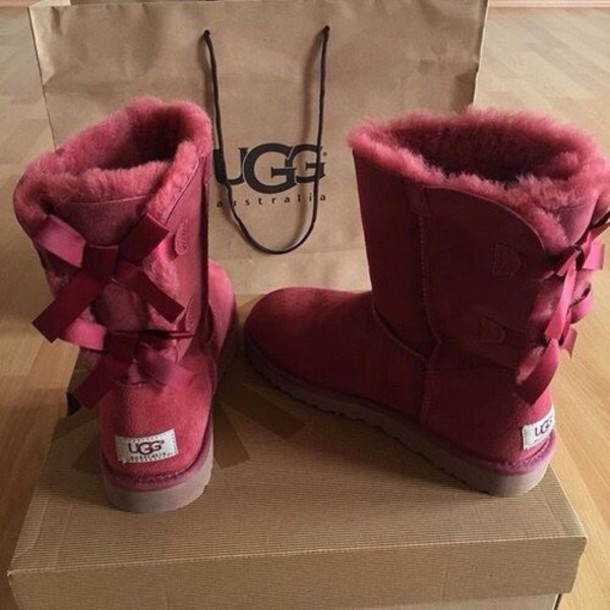 shoes, ugg boots, bailey bow, burgundy, bailey bow uggs, burgundy, burgundy shoes, flat boots, winter boots, ugg boots - Wheretoget