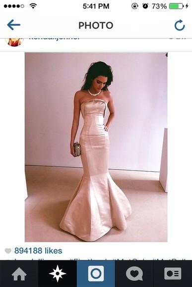 ivory kendall jenner dress designer replica remake white prom gown dress dress prom dress wedding dress mermaid prom dresses mermaid dress kendall jenner