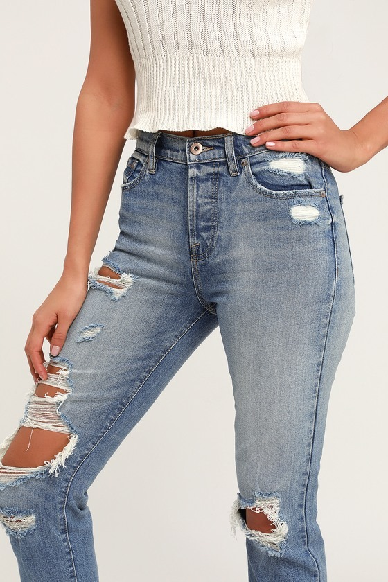 Nico Faded Light Wash Distressed High Rise Mom Jeans