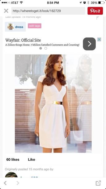 dress white dress gold belt