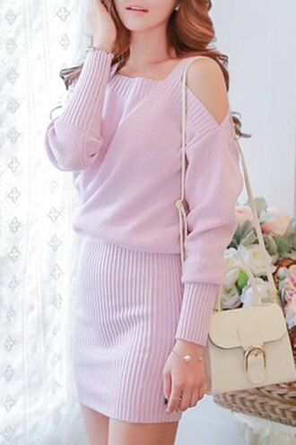 dress prom dress pink pink dress pastel pastel goth pastel pink off the shoulder bodycon dress asian fashion cute cute dress kawaii streetwear casual casual dress back to school