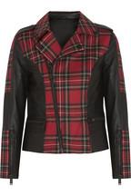 Trimmed tartan wool biker jacket
