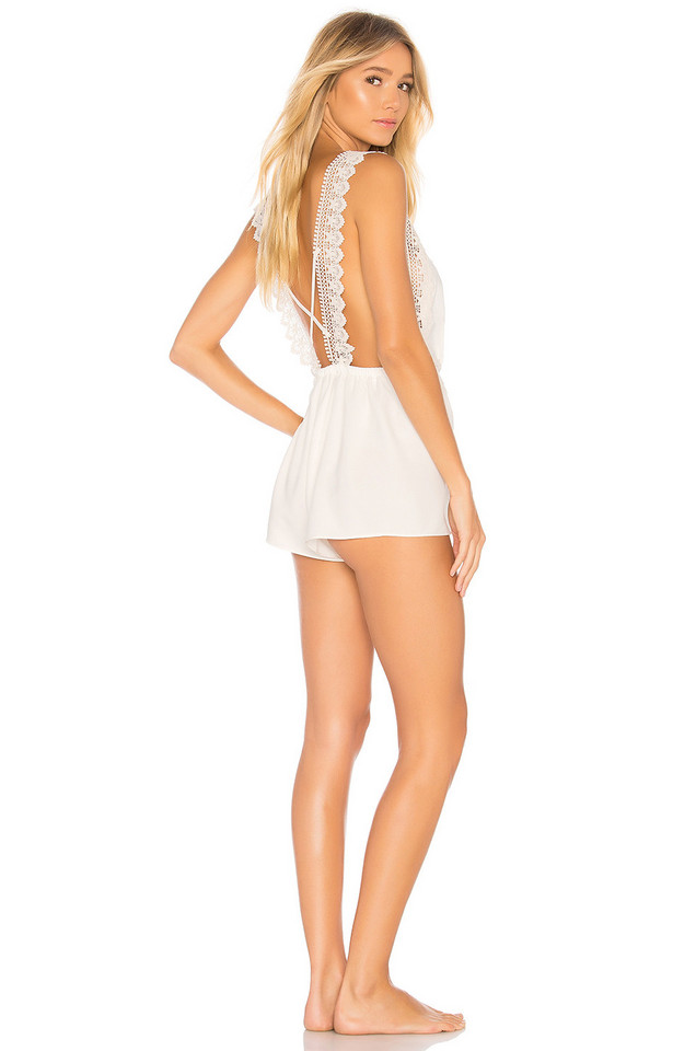 Flora Nikrooz Blythe Charmeuse Romper in ivory
