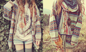 aztec hipster cardigan hippie grunge coulor nature fall outfits