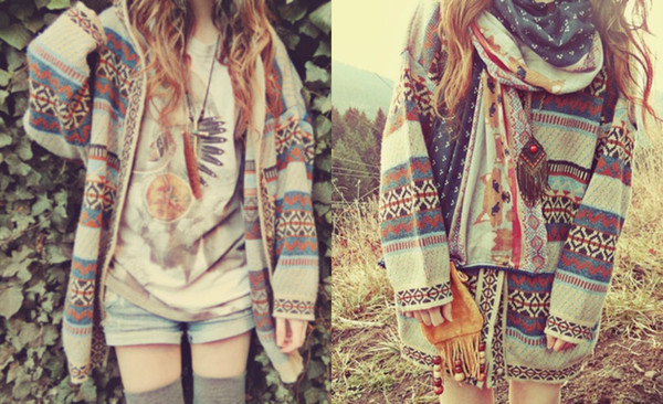 cardigan hippie grunge coulor nature hipster aztec fall outfits
