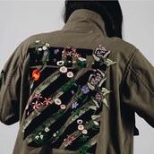 jacket,khaki,army green jacket,embroidered jacket