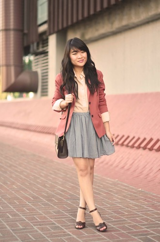 daily disguise blouse jacket skirt shoes bag