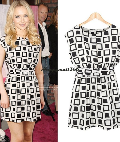 2014 New Preppy Style Fashion Elastic Summer Women Clothing Geometric Printed Chiffon Tunic Party Mini Dress SV000471 | Amazing Shoes UK