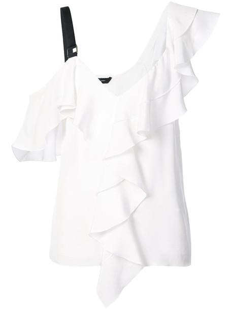 Proenza Schouler blouse ruffle women white silk top