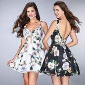 dress,la femme,cocktail,cocktail dress,birthday dress,homecoming,homecoming dress,white dress,black dress,floral dress
