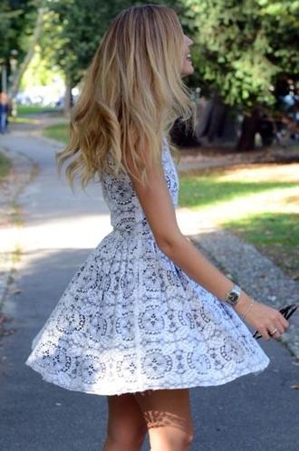 grey dress dress cute grey white dress skater dress white pattern blonde hair watch sunglasses