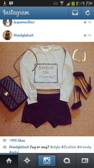 shirt sweatshirt grey chanel