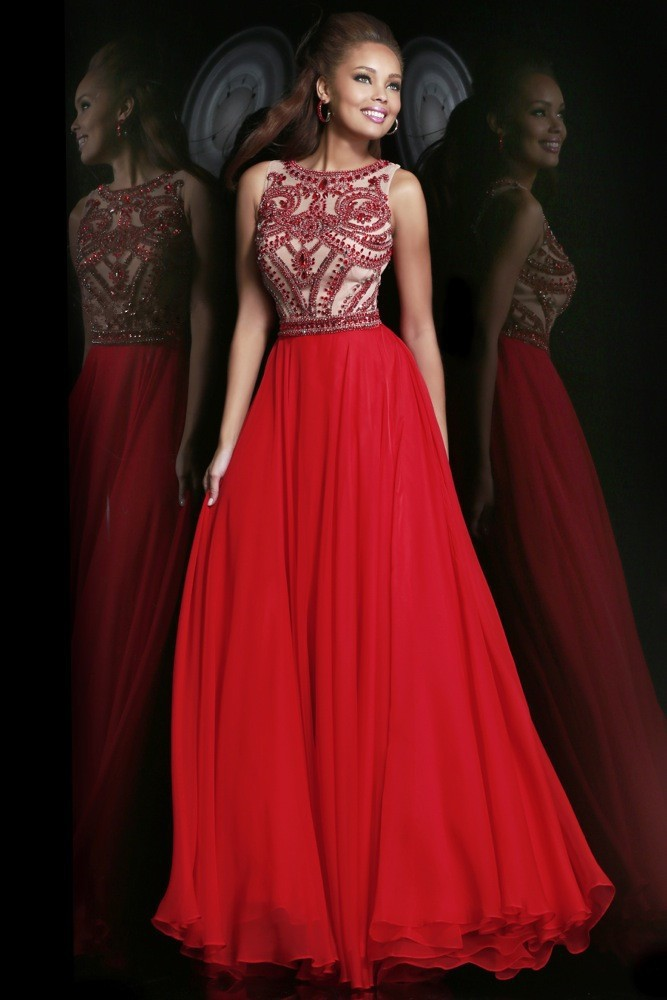 Elegant Beaded High Neck Red Chiffon Long Formal Evening Dresses Prom Party Gowns 2015 Hot Sale-in Evening Dresses from Apparel & Accessories on Aliexpress.com | Alibaba Group