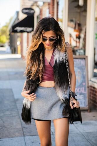 cuppajyo blogger skorts leather top faux fur vest