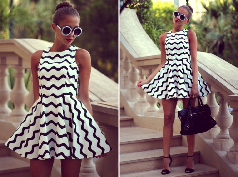 Swirly stripe black & white skater dress · fashion struck · online store powered by storenvy