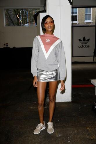 skirt mini mini skirt metallic jourdan dunn sneakers sweatshirt london fashion week 2017 model sweater