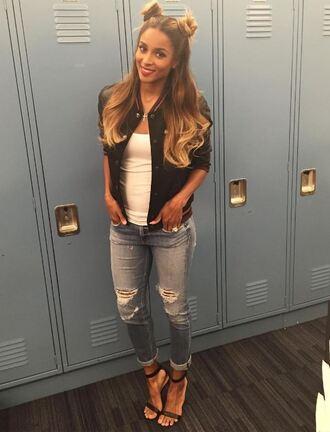 top jeans sandals sandal heels ciara jacket instagram summer outfits hair hairstyles long hair