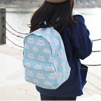 bag clouds cloud backpack backpack pastel pastel blue baby blue sky blue korean fashion korean style