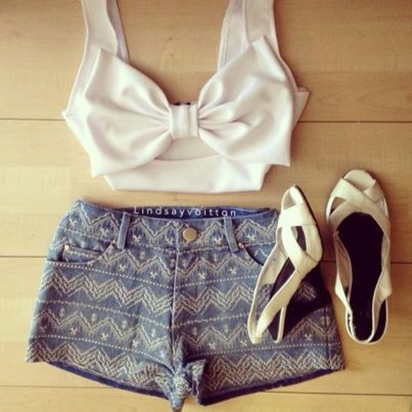 white bow tank top white top crop tops now top shirt sweet lovely