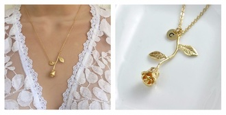 jewels gold necklace flowers rose