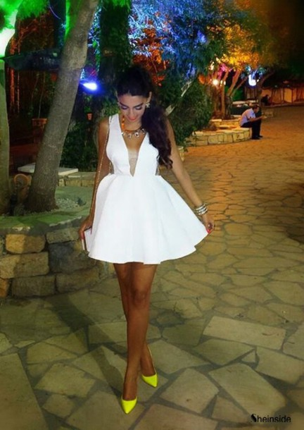 dress white dress out-cut lovely