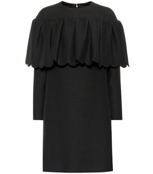 Valentino Wool and silk crêpe minidress in black