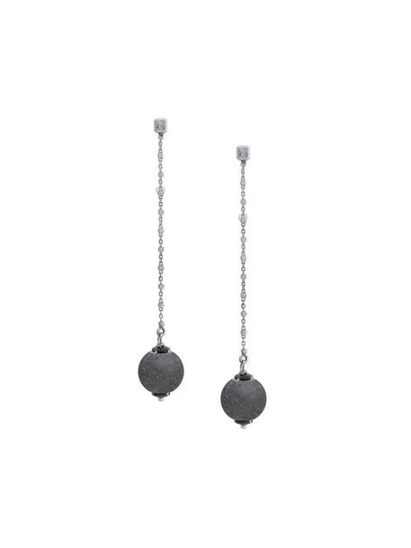 long women earrings gold white black grey metallic jewels