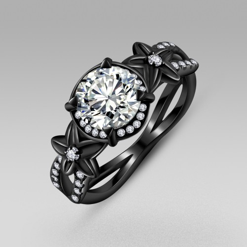 Black flower style cubic zirconia 925 sterling silver black engagement ring and wedding ring