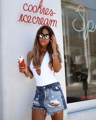 shorts denim shorts missguided high-waist jean shorts ripped jeans destroyed denim summer outfits