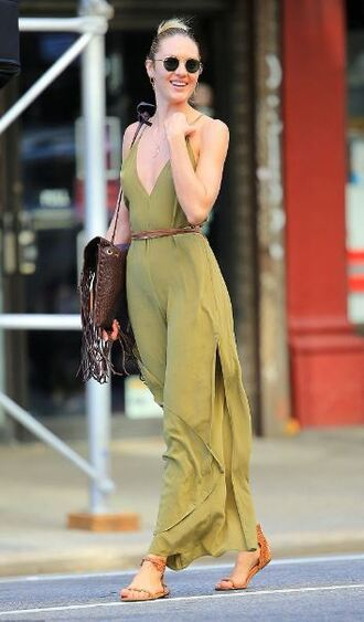 jumpsuit candice swanepoel sandals sunglasses summer outfits plunge v neck