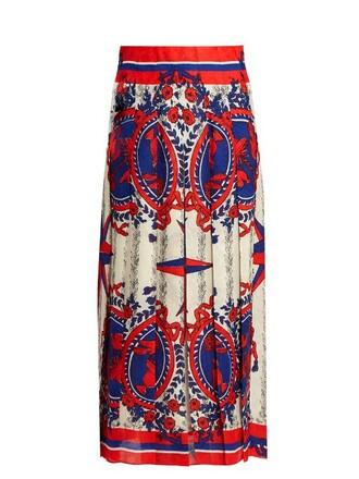 skirt midi skirt pleated midi print blue