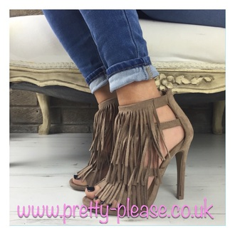 shoes mocha shoes heels high heels suede tassels fringes