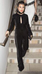 jumpsuit,velvet,black,kourtney kardashian,pants,top,kardashians,keeping up with the kardashians