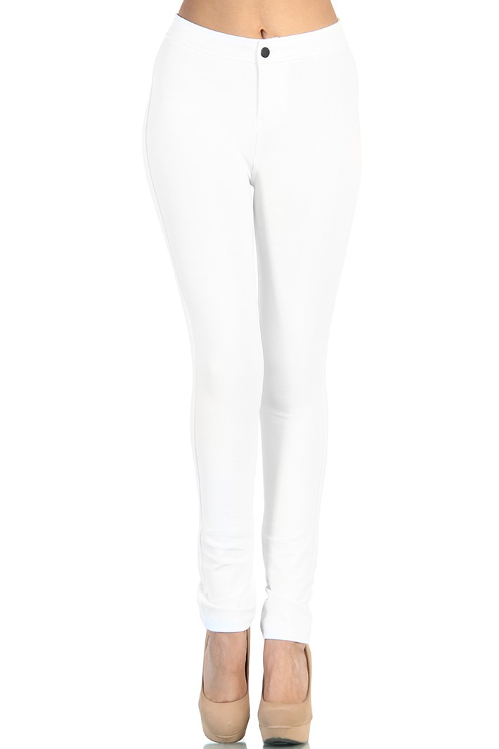 Waist Cotton Jeggings - White