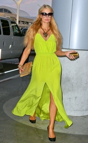 dress,shoes,sunglasses,maxi dress,paris hilton