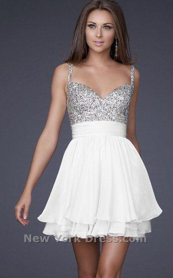 White Sequin Top Short Layered 16813 Prom Dress 2014 [La Femme 16813 White] - $165.00 : Prom Dresses 2014 Sale, 70% off Dresses for Prom