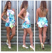 dress,romper,colorful,shorts,top,low back,backless,halter neck top,halter playsuit,flowers,bright,bubbly playsuit,pretty