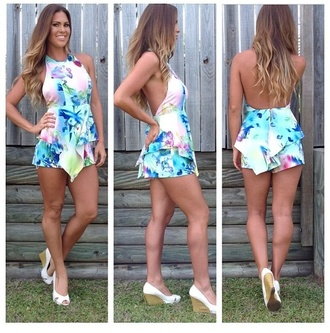 dress romper colorful shorts top low back backless halter neck top halter playsuit flowers bright bubbly playsuit pretty