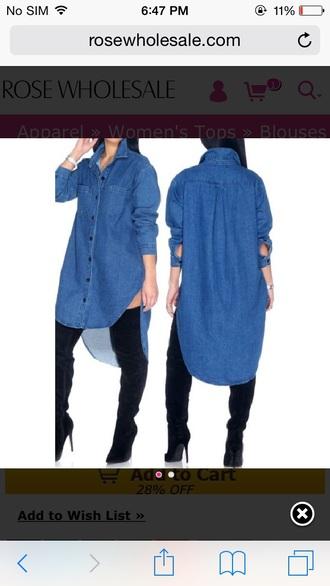 shirt dress denim dress denim denim shirt knee high boots dope high low shirt oversized shirt