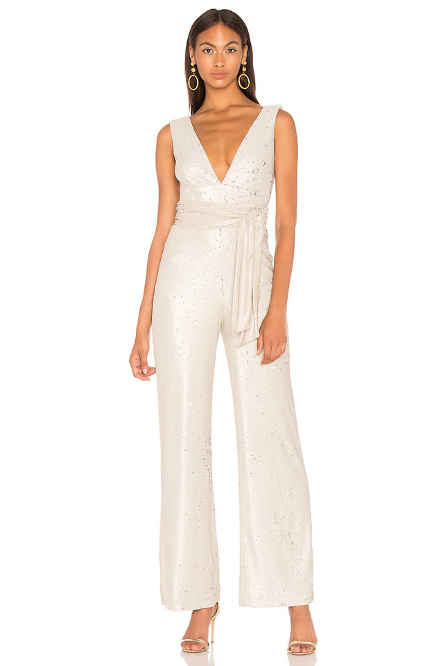 Mestiza New York Chrissy Sequin Jumpsuit in ivory