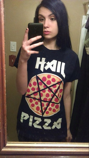 t-shirt grunge black pizza gorh satan pastel goth grunge top