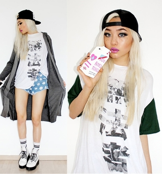 t-shirt fashion shirt black white asian japanese style blogger phone cover