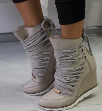 beige shoes wedges boots laceup lace up boots