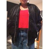jacket,bomber jacket,black,zip,90s style,hoop earrings,red,casual